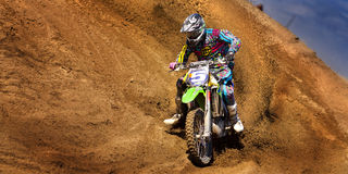 Fernley SandBox Dirt Bike Racer #5 Cornering Royalty Free Stock Images