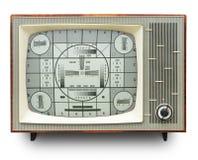 Fernsehübertragungs-Prüfungskarte auf Weinlese-Fernseher stockfotos