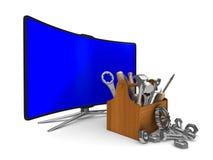Fernsehapparat auf weißem Hintergrund Getrenntes 3D Lizenzfreie Stockbilder