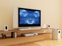 Fernsehapparat in einem modernen Innenraum lizenzfreie abbildung