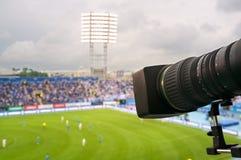 Fernsehapparat am Fußball. Lizenzfreie Stockfotografie