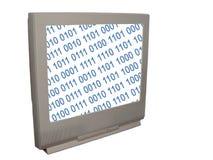 Fernsehapparat mit Binery Code Stockfotografie