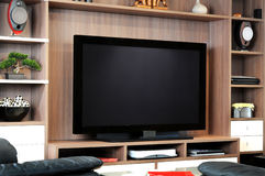 Fernsehapparat und Aufenthaltsraum stockbilder