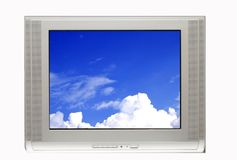 Fernsehapparat und blauer Himmel stockbild