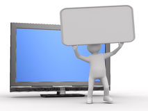 Fernsehapparat und Mann auf weißem Hintergrund Stockfotos