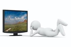Fernsehapparat und Mann auf weißem Hintergrund Stockfoto