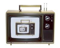 Fernsehen auf Fernsehapparat Stockfoto