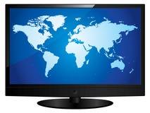 Fernsehen des breiten Bildschirms mit Weltkarte Stockfotografie