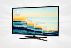 Fernsehen 4K mit Vergleich von Beschlüsse Stockbilder