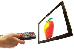Fernsehen und Hand lokalisiert Stockfoto