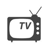 Fernsehikonen-Vektorillustration in der flachen Art lokalisiert auf Weißrückseite Lizenzfreie Stockbilder