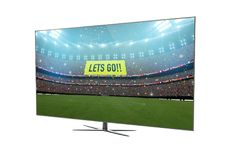Fernsehintelligentes Fernsehen lokalisiert mit Sportstadion auf Schirm stock abbildung