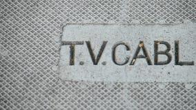 Fernsehkabel-Kollektornahaufnahme auf der Straße, städtische Stadt, stock video
