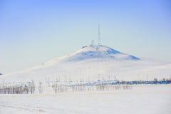 Fernsehkontrollturm im Winter Stockbild