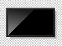 Fernsehmoderner leerer Bildschirm lcd, geführt, lokalisiert auf Hintergrund, Vektor lizenzfreie abbildung