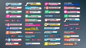 Fernsehnachrichten-Stangen eingestellter Vektor Brechen, Sport-Nachrichten Medienaufkleber etikettieren für Fernsehsendung lokali lizenzfreie abbildung