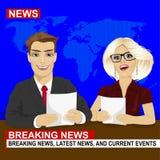 Fernsehnachrichten verankern die Berichtsletzten nachrichten, die im Studio sitzen vektor abbildung