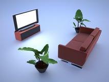 Fernsehraum und -sofa Stockbild