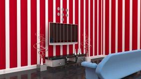 Fernsehrauminnenraum Stockbilder