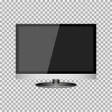 Fernsehrealistisches modernes, leerer Bildschirm lcd, geführt, Fernsehen, Monitor auf Isolathintergrund mit Sockel Auch im corel  lizenzfreie abbildung
