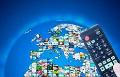 Fernsehsendungs-Multimediaweltkarte Lizenzfreie Stockbilder