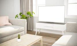 Fernsehsofa im skandinavischen Wohnzimmer lizenzfreie stockbilder