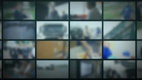 Fernsehstudio Unscharfer Hintergrund mit den Monitoren, die sich nach rechts bewegen Begriffs-Bild 3d