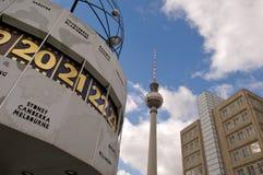 Fernsehturm alexanderplatz. The Fernsehturm and alexanderplatz clock Royalty Free Stock Photo