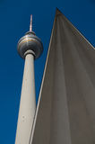 Fernsehturm Berlin. Close to Alexanderplatz in Mitte, the tower was constructed between 1965 and 1969 by the administration of the German Democratic Republic. It Stock Photography