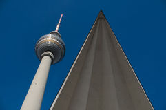 Fernsehturm Berlin. Close to Alexanderplatz in Mitte, the tower was constructed between 1965 and 1969 by the administration of the German Democratic Republic. It Royalty Free Stock Image