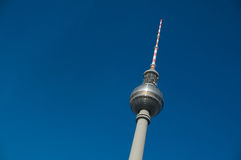 Fernsehturm Berlin. Close to Alexanderplatz in Mitte, the tower was constructed between 1965 and 1969 by the administration of the German Democratic Republic. It Stock Photo