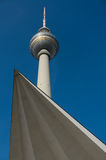 Fernsehturm Berlin. Close to Alexanderplatz in Mitte, the tower was constructed between 1965 and 1969 by the administration of the German Democratic Republic. It Stock Photos
