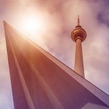 Fernsehturm Berlin. Famous tv tower at Berlin city centre from below, Berlin, Germany Stock Images
