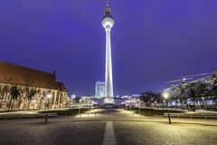 Fernsehturm Berlin Germany. The television tower of Berlin is a tower for antennas radio and television transmitters in central Berlin. It is a well-known Stock Images