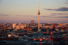 Fernsehturm Berlin. SEPTEMBER 2012 - BERLIN: aerial view: the skyline of Berlin Mitte with the television tower, Cathedral and other landmarks Royalty Free Stock Image