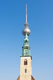 Fernsehturm Berlin and St. Mary's Church Stock Photo
