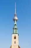 Fernsehturm Berlin and St. Mary's Church Stock Photo