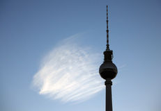 Fernsehturm with Cloud on the Alexanderplatz in Berlin Stock Photo