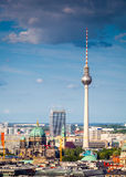 Fernsehturm television tower, Berlin views, Germany. Iconic Fernsehturm television tower overlooking Berlin cityscape from a dizzying 1200 ft in the Royalty Free Stock Image