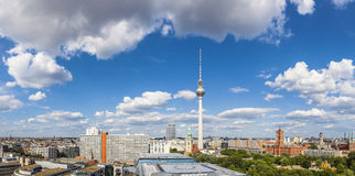 Fernsehturm television tower, Berlin views, Germany. Iconic Fernsehturm television tower overlooking Berlin cityscape from a dizzying 1200 ft in the Royalty Free Stock Photos