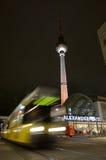 Fernsehturm and tram at alexanderplatz. The Fernsehturm and tram at alexanderplatz Royalty Free Stock Photography
