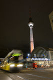 Fernsehturm and tram at alexanderplatz Royalty Free Stock Images