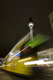 Fernsehturm and tram at alexanderplatz Stock Image