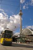 Fernsehturm and tram at alexanderplatz. The Fernsehturm and tram at alexanderplatz Stock Images