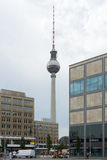 The Fernsehturm (TV tower) on Alexanderplatz. Royalty Free Stock Photo