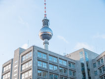 Fernsehturm TV Tower Behind Low Rise Building Royalty Free Stock Photography
