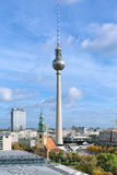 Fernsehturm TV Tower and St. Mary`s Church in Berlin, Germany Stock Photo