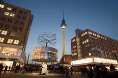 Fernsehturm and weltzeituhr. The main landmarks in alexanderplatz berlin, the fernsehturm tv tower and weltzeituhr world clock Stock Images