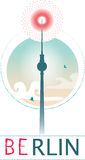 Fernsehturrm. Tv tower of Berlin with vintage style Royalty Free Stock Photos