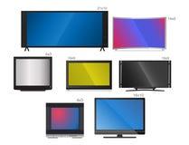 Fernsehvektorschirm lcd-Monitor und Notizbuch, Tablet-Computer, Retro- Schablonen Fernsehen der elektronischen Geräte sortiert in vektor abbildung